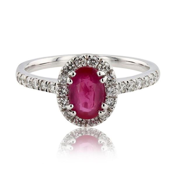 1.06 ctw Ruby and 0.38 ctw Diamond Platinum Ring (GIA CERTIFIED)