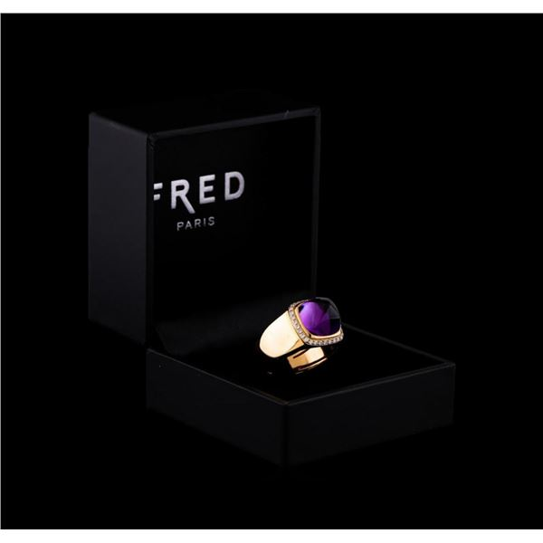 Fred of Paris Pain De Sucre Amethyst and Diamond Ring - 18KT Pink Gold