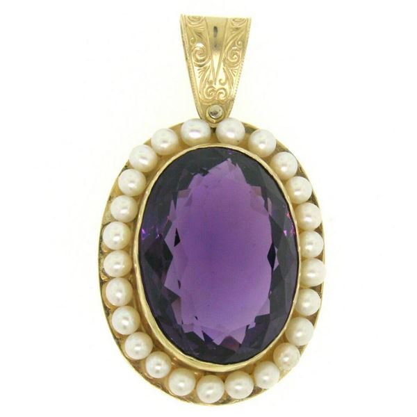 Vintage 14kt Yellow Gold Oval Amethyst and Pearl Halo Pendant