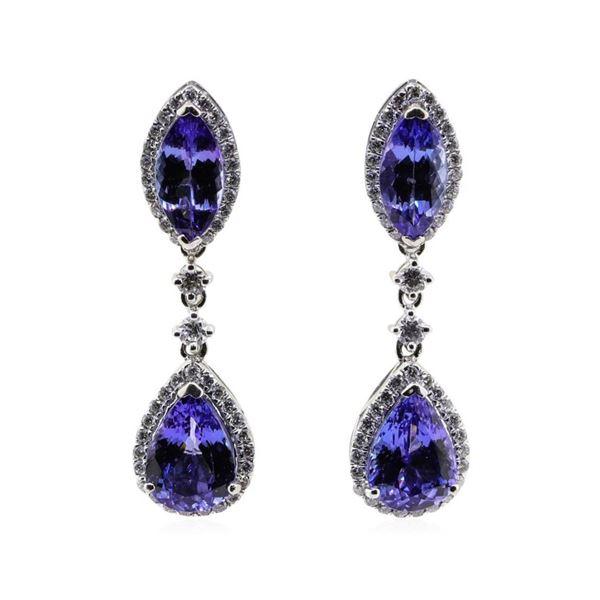 8.51 ctw Tanzanite and Diamond Earrings - Platinum