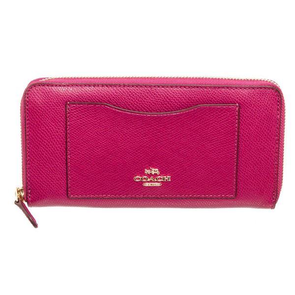 Coach Pink Leather Long Zippy Wallet