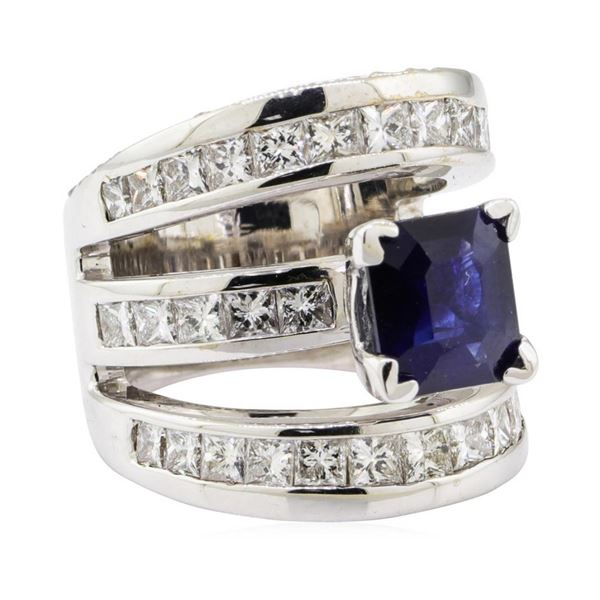 7.40 ctw Sapphire and Diamond Ring - 18KT White Gold