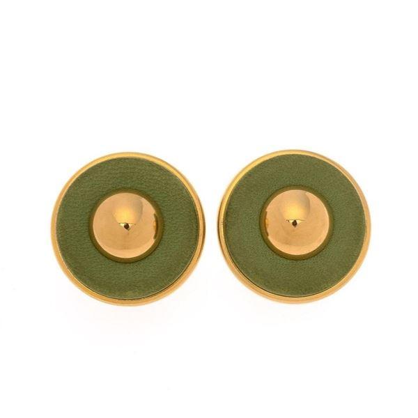 Hermes Green Leather Clip-on Earrings