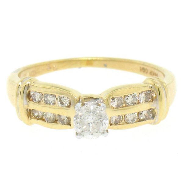 14k Yellow Gold 0.30 ctw Round Diamond & Dual Row Channel Accent Engagement Ring