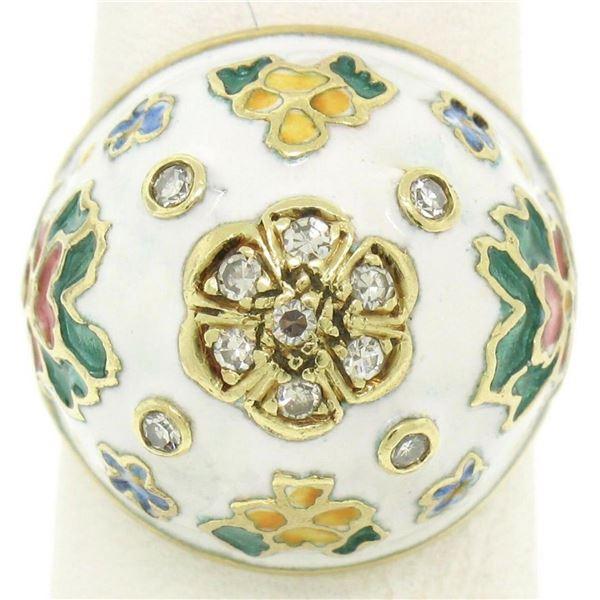Antique 14K Yellow Gold Diamond White Blue Green Yellow Enamel Dome Floral Ring