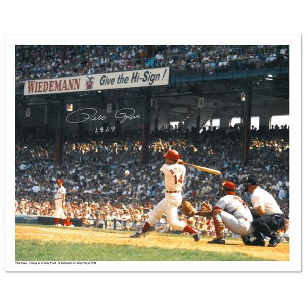 """""""Rose Hitting in Crosley Field"""" Archival Photograph Featuring Pete Rose Taken by"""