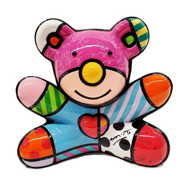 """Romero Britto, """"Summer Bear"""" Hand Signed Limited Edition Sculpture; Authenticate"""