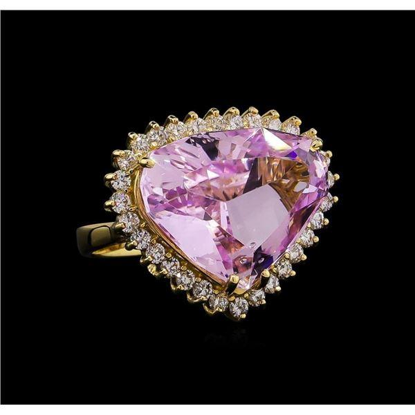 14KT Yellow Gold GIA Certified 18.42 ctw Kunzite and Diamond Ring