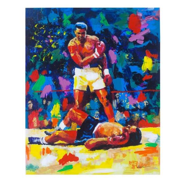 "Igor Semeko, ""Ali Over Liston"" Hand Signed Mixed Media on Canvas with Letter of"