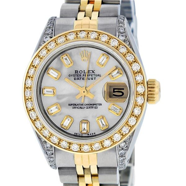 Rolex Ladies 2 Tone MOP Baguette Diamond Lugs 26MM Oyster Perpetual Datejust