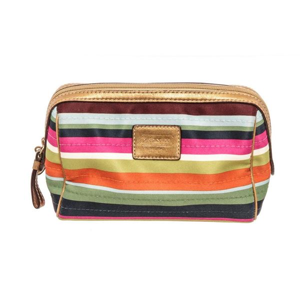 Coach Multicolor Legacy Stripe Satin Cosmetic Pouch