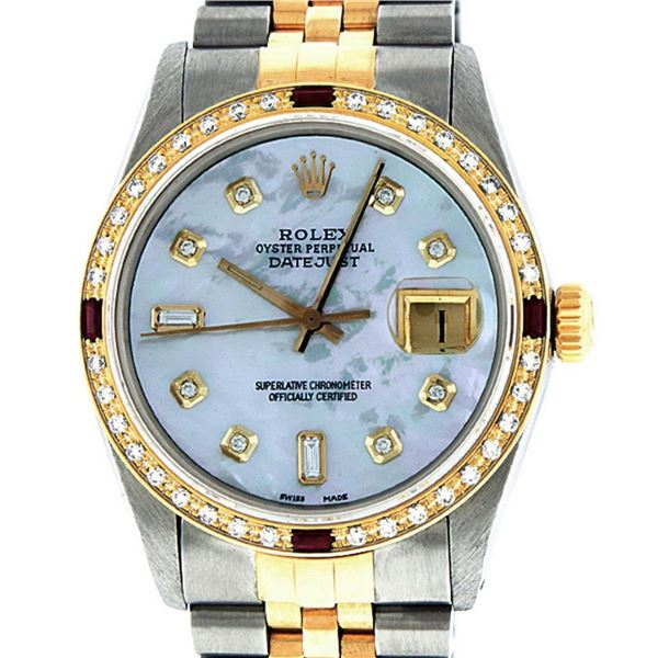 Rolex Mens 2T Mother Of Pearl Diamond & Ruby Datejust Wristwatch 36MM