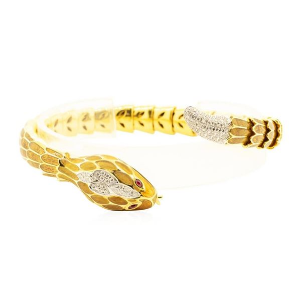 18KT Yellow Gold David Webb Snake Flexable Bangle Bracelet