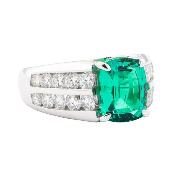 4.25 ctw Lab Created Emerald And Diamond Ring - 18KT White Gold
