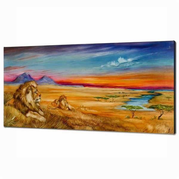 """""""Pride Of Lions"""" Limited Edition Giclee on Canvas (36"""" x 18"""") by Martin Katon, N"""