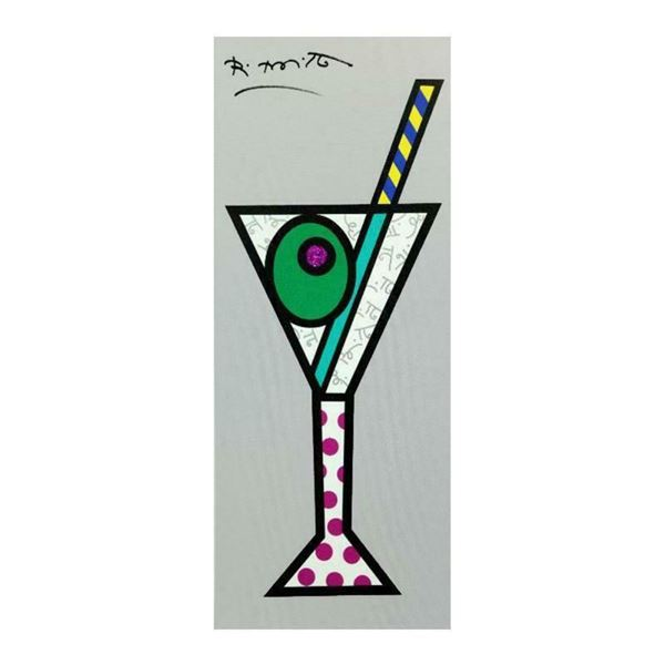 """Romero Britto """"Silver Martini"""" Hand Signed Limited Edition Giclee on Canvas; Aut"""
