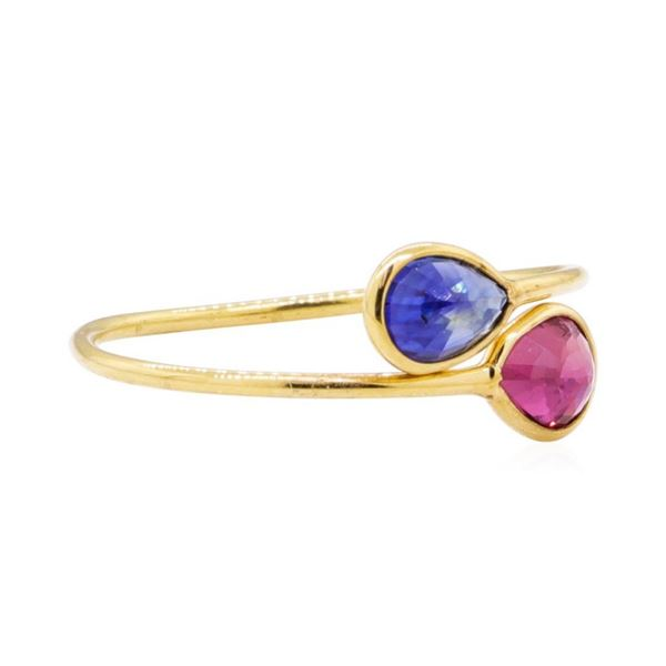 1.54 ctw Ruby and Sapphire Ring - 18KT Yellow Gold