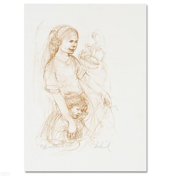 """""""Small Breton Woman with Child"""" Limited Edition Lithograph by Edna Hibel (1917-2"""
