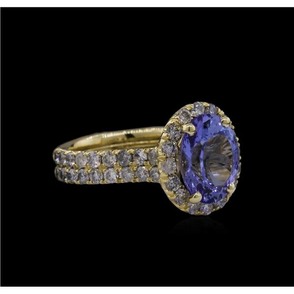3.44 ctw Tanzanite and Diamond Ring - 14KT Yellow Gold