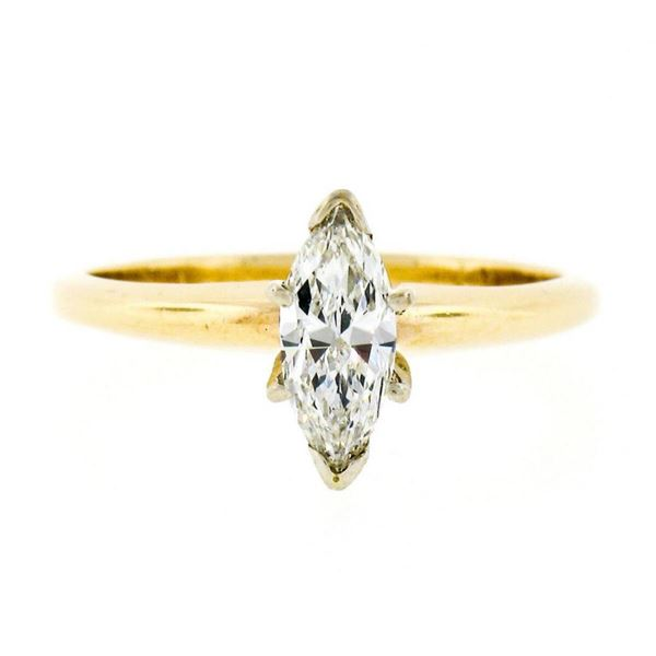 New 14kt Yellow and White Gold 0.41 ctw Marquise Diamond Solitaire Ring