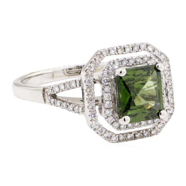 2.42 ctw Princess Brilliant Green Zircon And Round Brilliant Cut Diamond Ring -