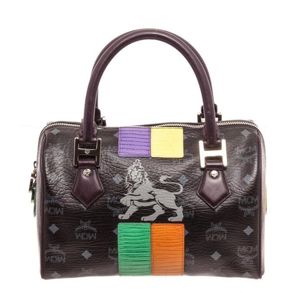 MCM Black Visetos Coated Canvas  Leather Lion Boston Satchel Bag