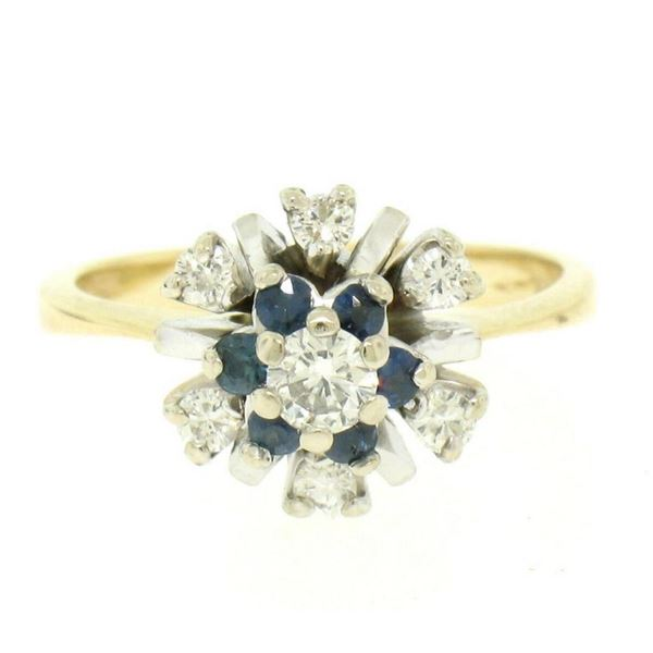14k Yellow & White Gold 0.65 ctw Diamond Sapphire 3 Tiered Starburst Cluster Rin