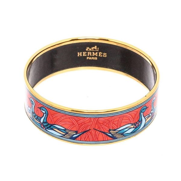 Hermes Orange Multicolor Enamel Gold Plated Duck Bangle Bracelet