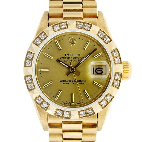 Rolex Ladies 18K Yellow Diamond And Champagne Index President Wristwatch