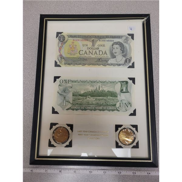 Framed last year Canada $1.00 note & 1st year Canadian loonie coins