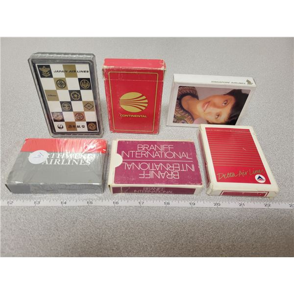 6 decks of playing cards - all International airline New in Box