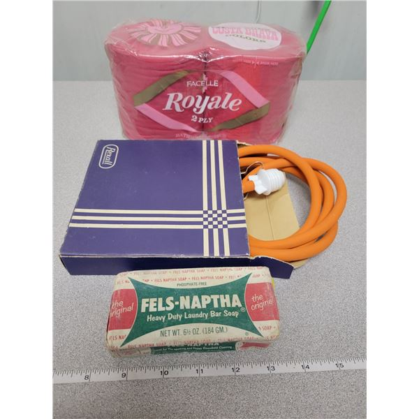 Soap bar, toilet tissue, Rexall box