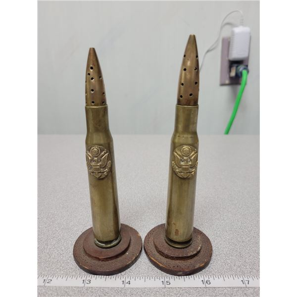 Pair of WWII trench art with military insignia