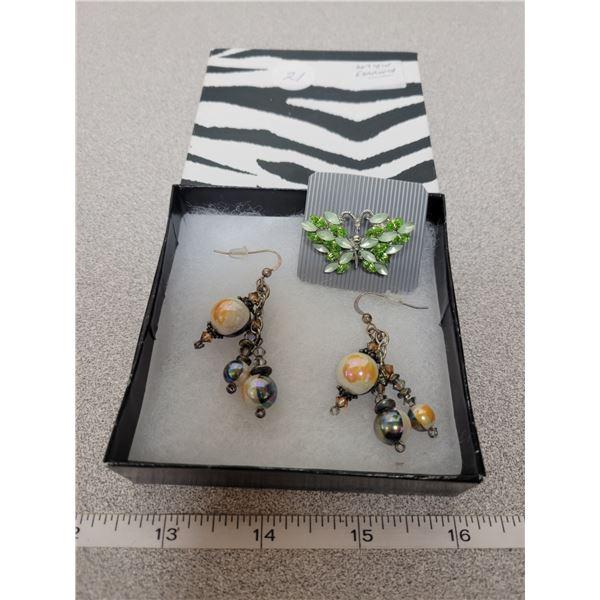 Pair of earrings & sterling silver antique crystal brooch