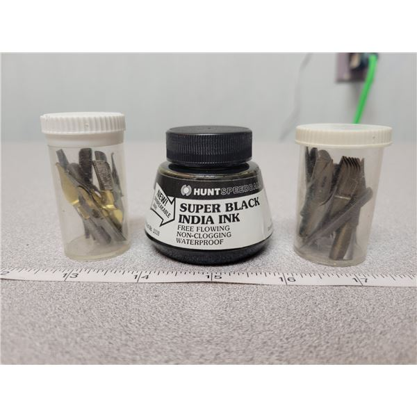 3 ink container & nibs