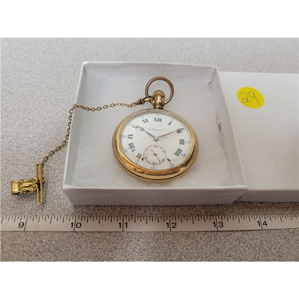 Admiral pocket watch size 16, nice designed engraving on the back - with gold filled bob