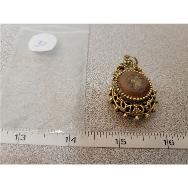 Vintage 2 sided gold plated pendant