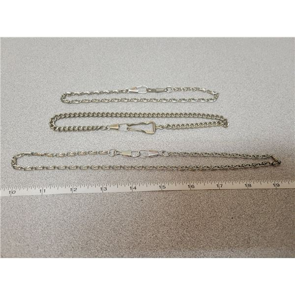 """3 pocket watch silver plated chains - 2 X 14"""", 1 X 20"""""""