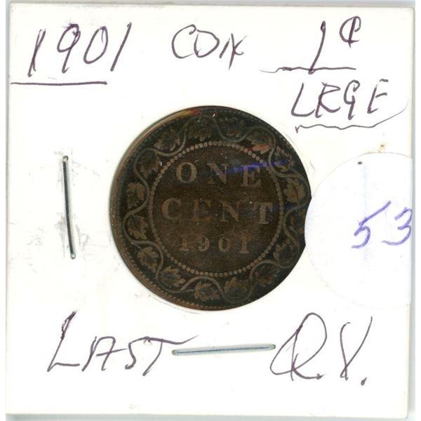 1901 Q.V. large 1¢ coin