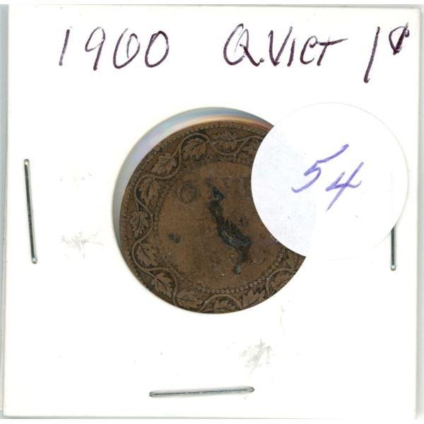 1900 Q.V. large 1¢ coin