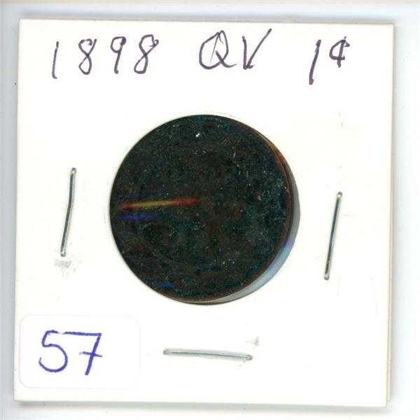 1898 Q.V. large 1¢ coin
