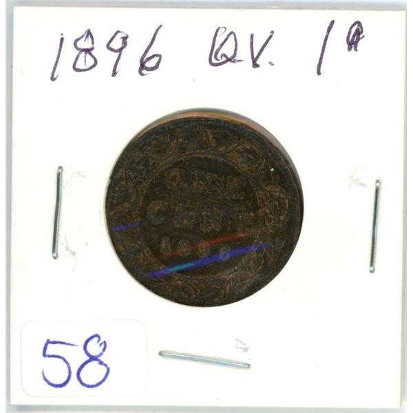 1896 Q.V. large 1¢ coin