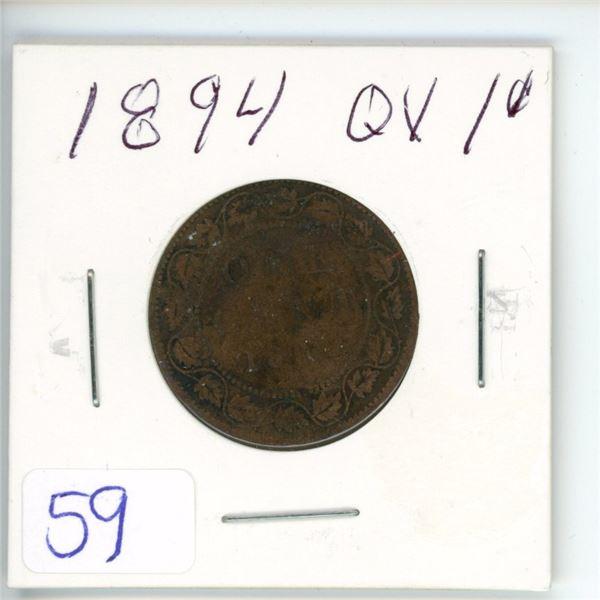 1894 Q.V. large 1¢ coin