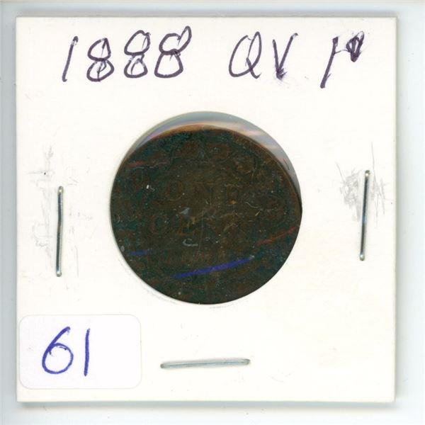 1888 Q.V. large 1¢ coin