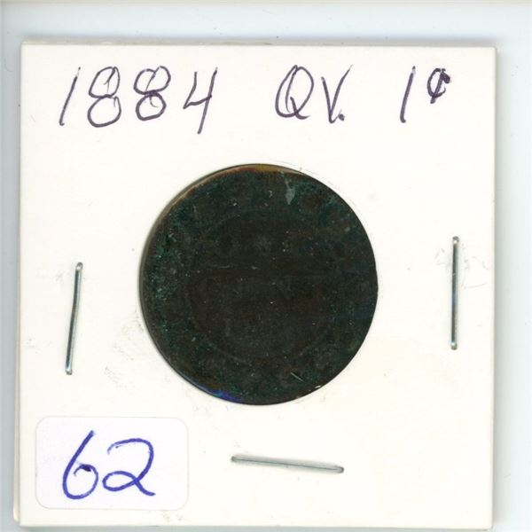 1884 Q.V. large 1¢ coin