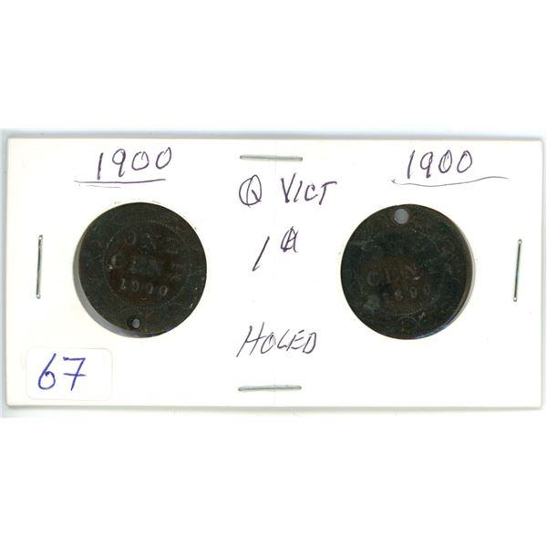 2 Queen Victoria 1900 1¢ coins - holed