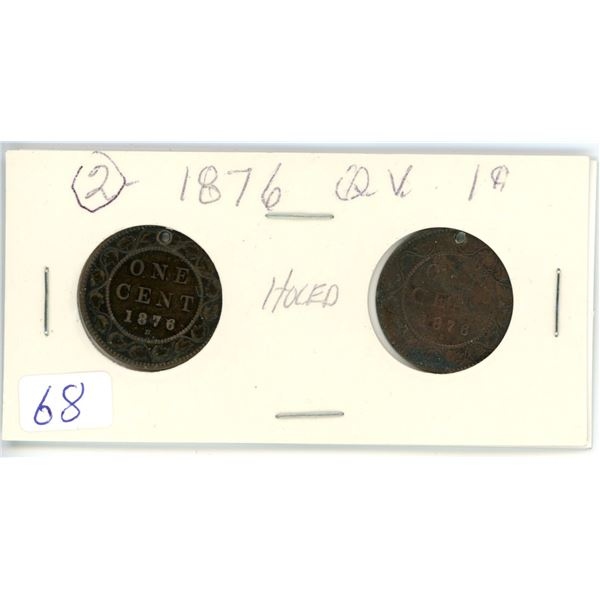 2 Queen Victoria 1876 1¢ coins - holed