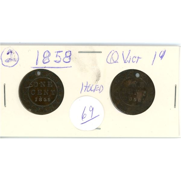 2 Queen Victoria 1858 1¢ coins - holed