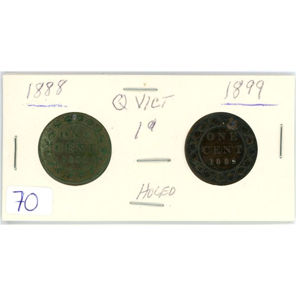 2 Queen Victoria 1¢ coins - holed 1888, 1889