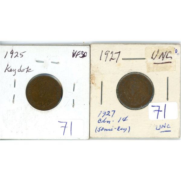 2 Canadian 1¢ coins 1925 VF30 & 1927 unc